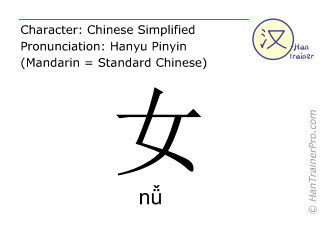 Chinese characters  ( nü / nǚ ) with pronunciation (English translation: female )