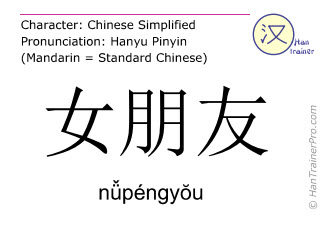 Chinese characters  ( nüpengyou / n&#474péngy&#335u ) with pronunciation (English translation: girlfriend )