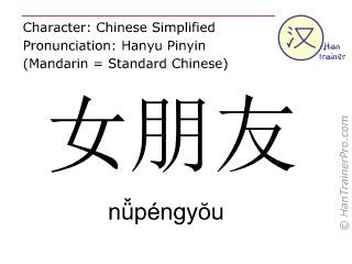 Chinesische Schriftzeichen  ( nüpengyou / nǚpéngyŏu ) mit Aussprache (Deutsche Bedeutung: (feste) Freundin )