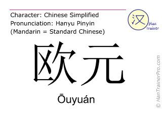 Chinesische Schriftzeichen  ( Ouyuan / Ōuyuán ) mit Aussprache (Deutsche Bedeutung: Euro )