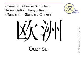 Caracteres chinos  ( Ouzhou / Ōuzhōu ) con pronunciación (traducción española: Europa )