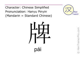 Chinesische Schriftzeichen  ( pai / pái ) mit Aussprache (Deutsche Bedeutung: Schild )