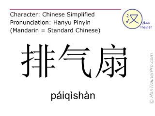 Caracteres chinos  ( paiqishan / páiqìshàn ) con pronunciación (traducción española: ventilador de escape )
