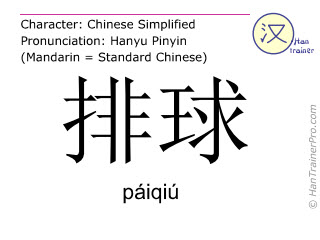 Chinese characters  ( paiqiu / páiqiú ) with pronunciation (English translation: volleyball )