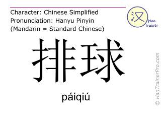汉字  ( paiqiu / páiqiú ) 包括发音 (英文翻译: volleyball )
