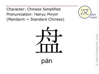 Caractère chinois  ( pan / pán ) avec prononciation (traduction française: vaisselle )