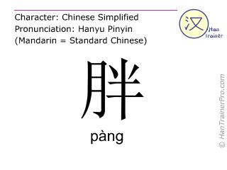 Chinesische Schriftzeichen  ( pang / pàng ) mit Aussprache (Deutsche Bedeutung: dick )