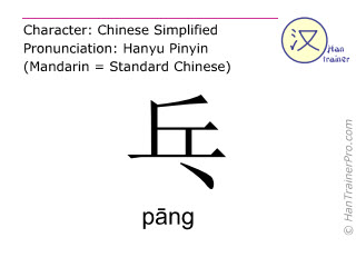 Caracteres chinos  ( pang / p&#257;ng ) con pronunciaci&oacute;n (traducci&oacute;n espa&ntilde;ola: <i>sonido</i> )