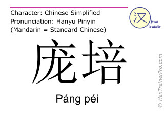 Chinese characters  ( Pang pei / Páng péi ) with pronunciation (English translation: Pompeii )