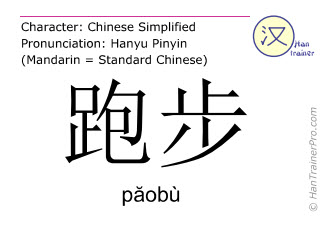 Chinese characters  ( paobu / păobù ) with pronunciation (English translation: to run )