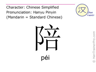 Chinese characters  ( pei / péi ) with pronunciation (English translation: to accompany )