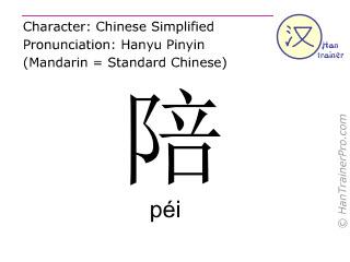 Caracteres chinos  ( pei / péi ) con pronunciación (traducción española: acompañar )