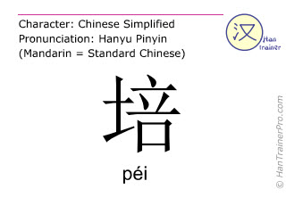 Chinese characters  ( pei / péi ) with pronunciation (English translation: to train )