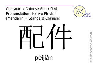 Chinesische Schriftzeichen  ( peijian / pèijiàn ) mit Aussprache (Deutsche Bedeutung: Zubehörteil )