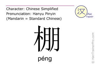Chinesische Schriftzeichen  ( peng / péng ) mit Aussprache (Deutsche Bedeutung: Hütte )