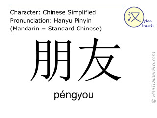 Chinese characters  ( pengyou / péngyou ) with pronunciation (English translation: friend )