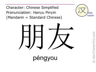 Caracteres chinos  ( pengyou / péngyou ) con pronunciación (traducción española: amigo )