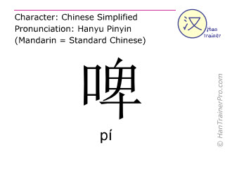 Chinese characters  ( pi / pí ) with pronunciation (English translation: beer )