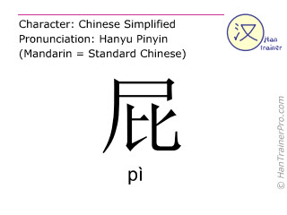 Chinese characters  ( pi / pì ) with pronunciation (English translation: fart )