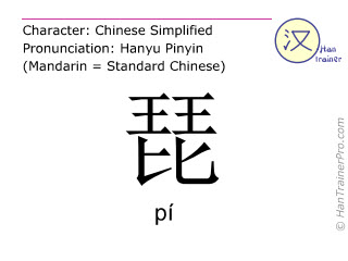 Chinese characters  ( pi / pí ) with pronunciation (English translation: lute )