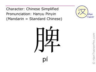 Chinesische Schriftzeichen  ( pi / pí ) mit Aussprache (Deutsche Bedeutung: Milz )