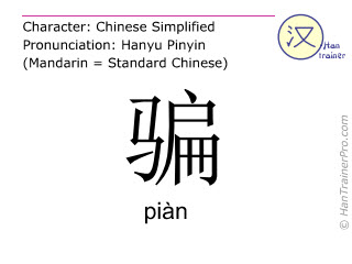 Chinese characters  ( pian / piàn ) with pronunciation (English translation: to cheat )