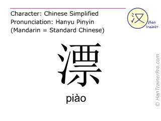 Chinese characters  ( piao / piào ) with pronunciation (English translation: <m>elegant</m> )