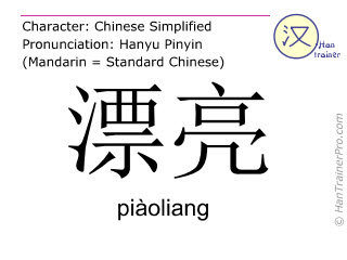 Chinese characters  ( piaoliang / piàoliang ) with pronunciation (English translation: pretty )