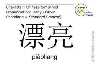 Caractère chinois  ( piaoliang / piàoliang ) avec prononciation (traduction française: joli )