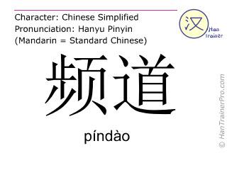 Chinesische Schriftzeichen  ( pindao / píndào ) mit Aussprache (Deutsche Bedeutung: Kanal )