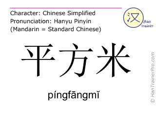 Chinese characters  ( pingfangmi / píngfāngmĭ ) with pronunciation (English translation: square meter )