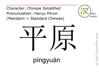 Chinese characters  ( pingyuan / píngyuán ) with pronunciation (English translation: plain )