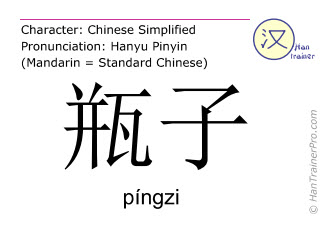 Chinese characters  ( pingzi / píngzi ) with pronunciation (English translation: bottle )
