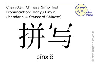 Chinese characters  ( pinxie / pīnxiĕ ) with pronunciation (English translation: to spell )
