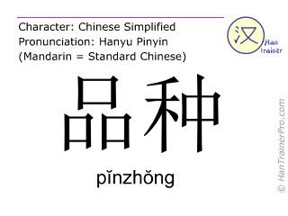 Chinesische Schriftzeichen  ( pinzhong / pĭnzhŏng ) mit Aussprache (Deutsche Bedeutung: Rasse )