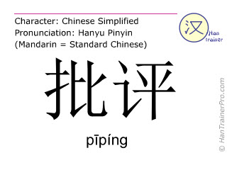 Chinese characters  ( piping / pīpíng ) with pronunciation (English translation: to criticize )