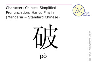 Chinese characters  ( po / pò ) with pronunciation (English translation: broken )