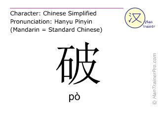 Chinesische Schriftzeichen  ( po / pò ) mit Aussprache (Deutsche Bedeutung: kaputt )