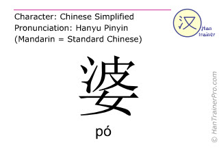 Chinese characters  ( po / p&oacute; ) with pronunciation (English translation: <m>mother in law</m> )
