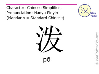 Chinese characters  ( po / pō ) with pronunciation (English translation: to splash )