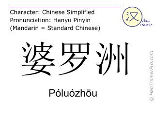 Chinesische Schriftzeichen  ( Poluozhou / Póluózhōu ) mit Aussprache (Deutsche Bedeutung: Borneo )