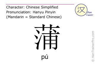 Chinesische Schriftzeichen  ( pu / pú ) mit Aussprache (Deutsche Bedeutung: Rohrkolben (Pflanze) )