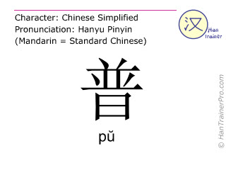 Chinese characters  ( pu / pŭ ) with pronunciation (English translation: general )