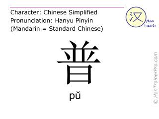 Chinesische Schriftzeichen  ( pu / pŭ ) mit Aussprache (Deutsche Bedeutung: generell )