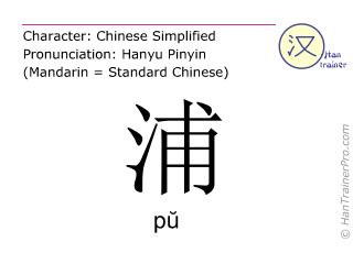 Chinesische Schriftzeichen  ( pu / pŭ ) mit Aussprache (Deutsche Bedeutung: Flussufer )