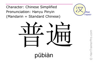 Chinese characters  ( pubian / p&#365biàn ) with pronunciation (English translation: universal )