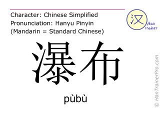 Chinese characters  ( pubu / pùbù ) with pronunciation (English translation: waterfall )