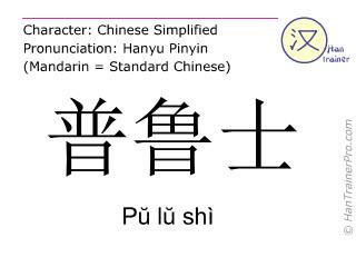Chinese characters  ( Pu lu shi / Pŭ lŭ shì ) with pronunciation (English translation: Prussia )