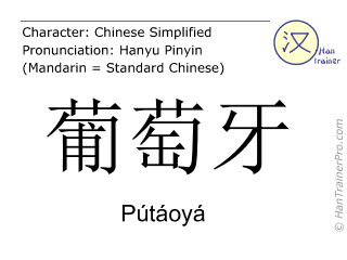 Chinesische Schriftzeichen  ( Putaoya / Pútáoyá ) mit Aussprache (Deutsche Bedeutung: Portugal )