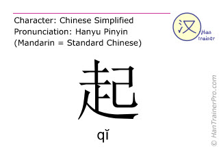 Chinese characters  ( qi / qĭ ) with pronunciation (English translation: to raise )
